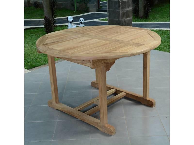 Table de jardin en teck extensible ø 120 cm - roma Teck massif de ...