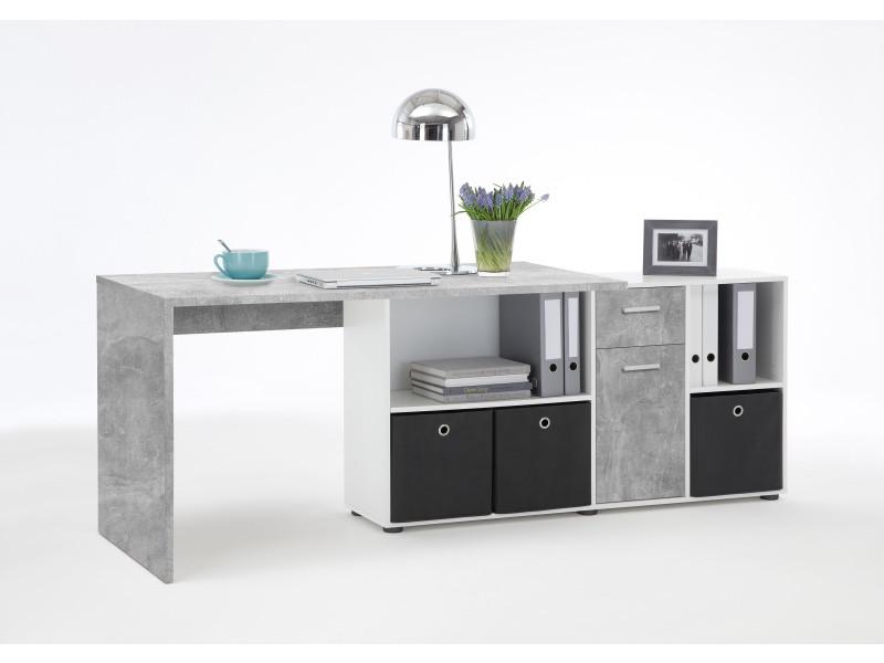 Bureau d'angle réversible 135,7x135,7x74,2 cm gris béton et blanc