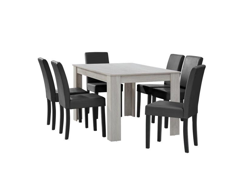 Table à manger chêne blanc avec 6 chaises gris foncé cuir-synthétique rembourré 140x90 cm helloshop26 03_0004035