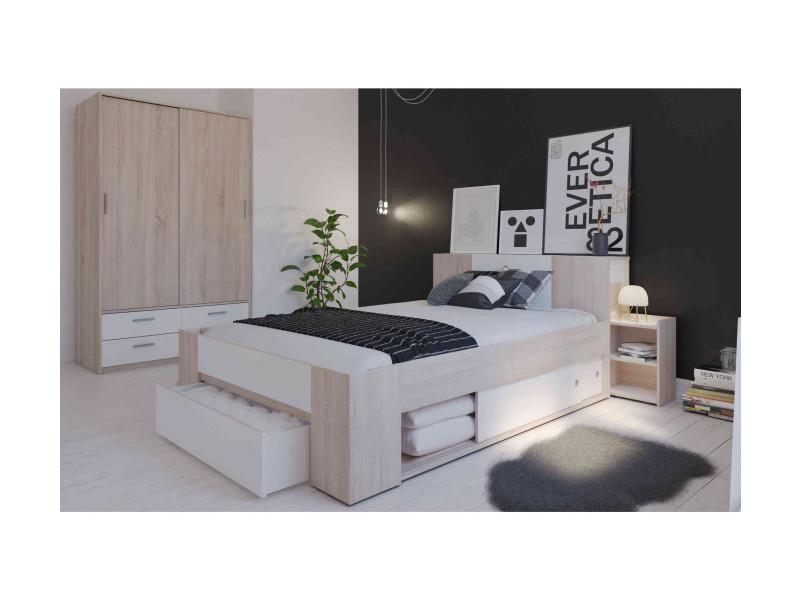 Lit avec rangement 140x190/200 chêne brossé et blanc environnement armoire - Vente de Lit adulte ...