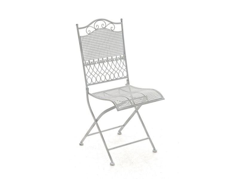 Chaise de jardin kiran en fer forgé , blanc antique
