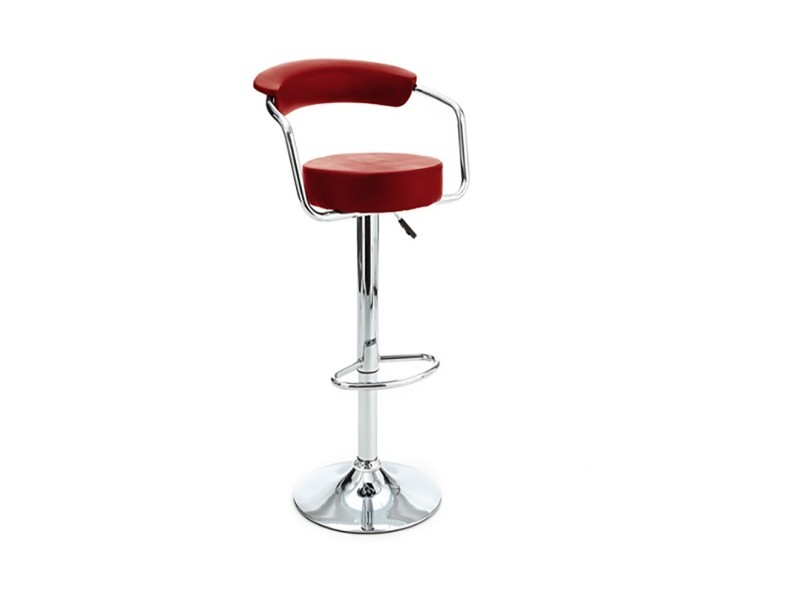Tabouret de bar réglable rouge - l:52,5 l:52,5 h:85-100 - baakal and ross