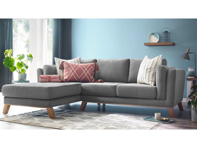 Canapé d'angle fixe seattle gris clair angle gauche