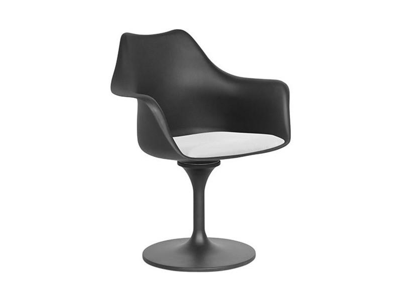 Chaise tulipe pivotante - simili cuir - coque noire - polypropylène blanc