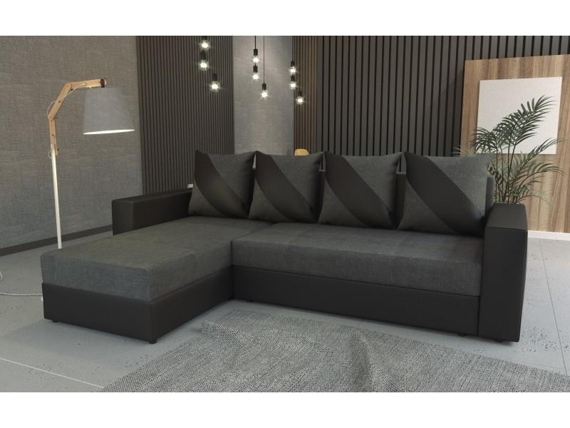Canapé d'angle convertible huli gris foncé/noir