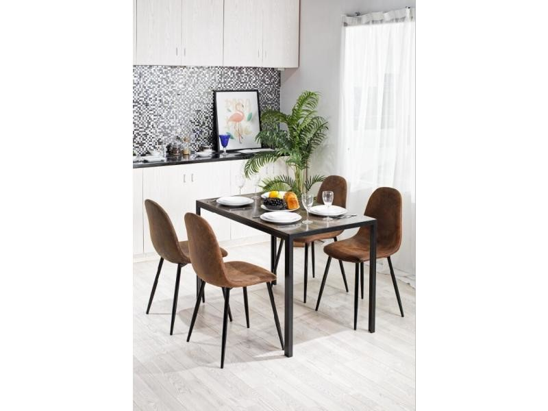 Table A Manger Rectangulaire Scandinave Noir Bois Metal