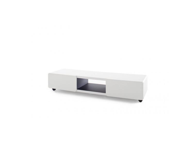 Meuble Tv Moderne Blanc Laque Mat Madeleine Vente De Vivabita Conforama