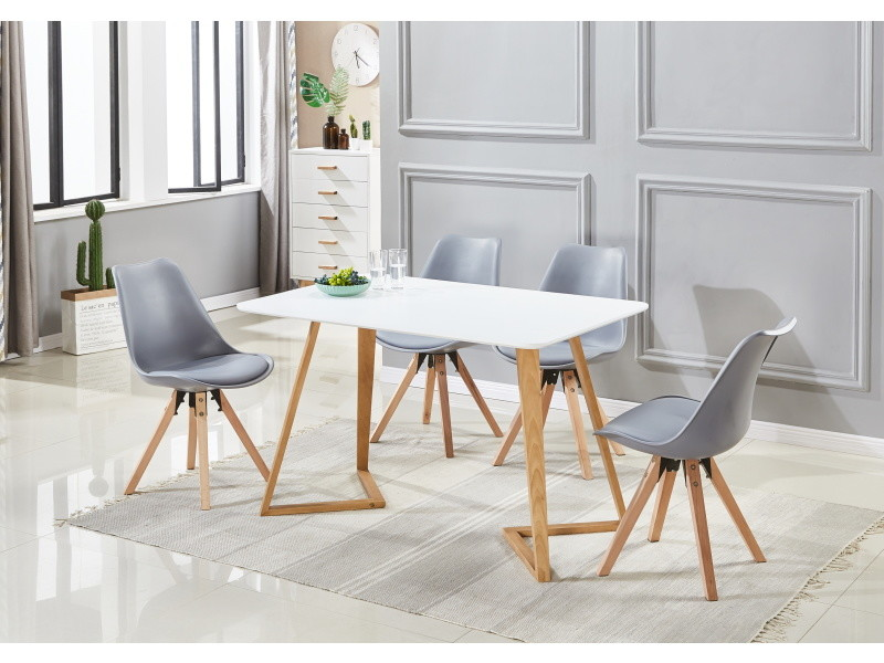 Ensemble Table A Manger Blanche 4 Chaises Scandinaves Grises