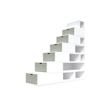 Escalier cube de rangement hauteur 175 cm blanc/moka ESC175-LBMoka - Vente de Boîte de rangement ...