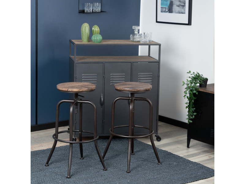 Lot de 2 tabouret de bar hauteur réglable rotation siège en imitation bois et métal design industriel