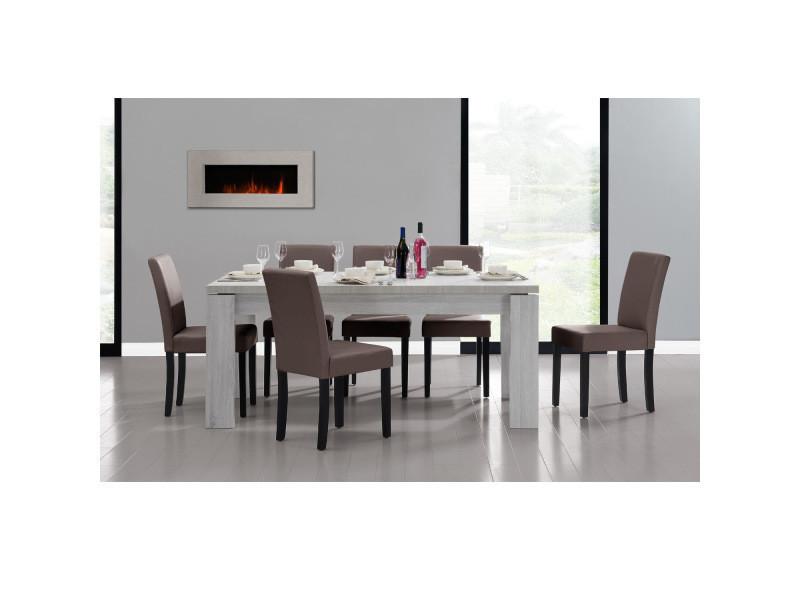[en.casa] table et jeu de chaises 'helsinki' (blanc - 170 x 79) 6 chaises (rembourrées - marron) - en pack économique