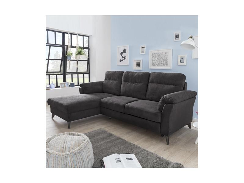Canapé d'angle paola convertible coffre gauche tissu / marron