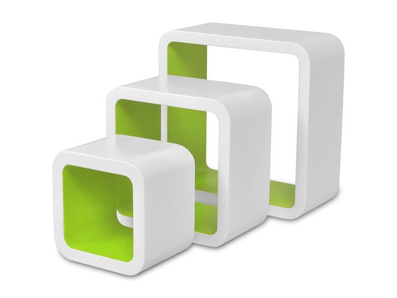 Vidaxl étagères murales forme de cube 6 pcs blanc et vert 275985
