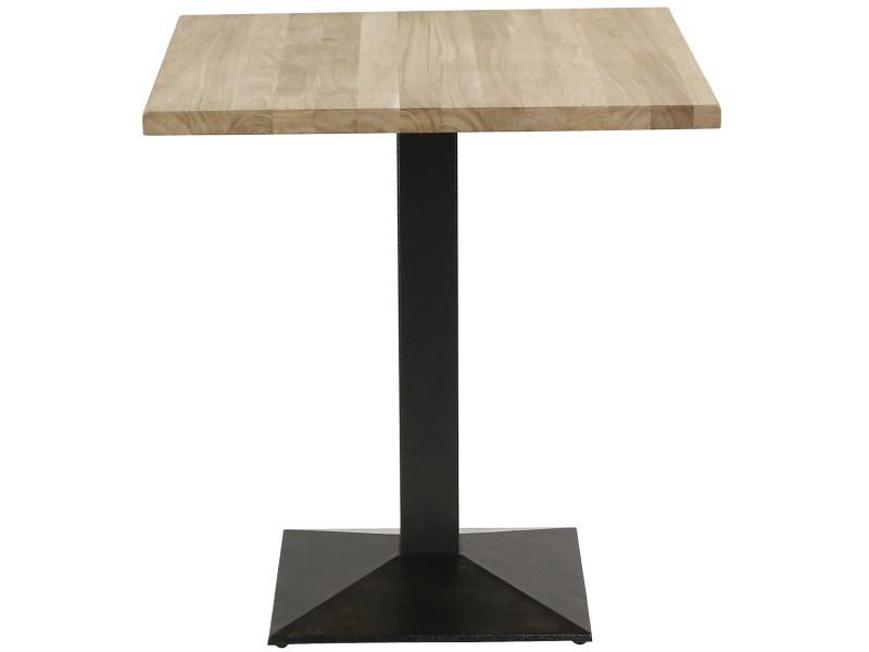 Table bistrot plateau chêne carré 70 x 70 cm piétement métal noir carré