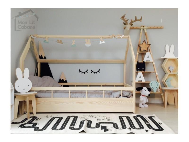 lit cabane h barri re pleine 90x180 vente de. Black Bedroom Furniture Sets. Home Design Ideas