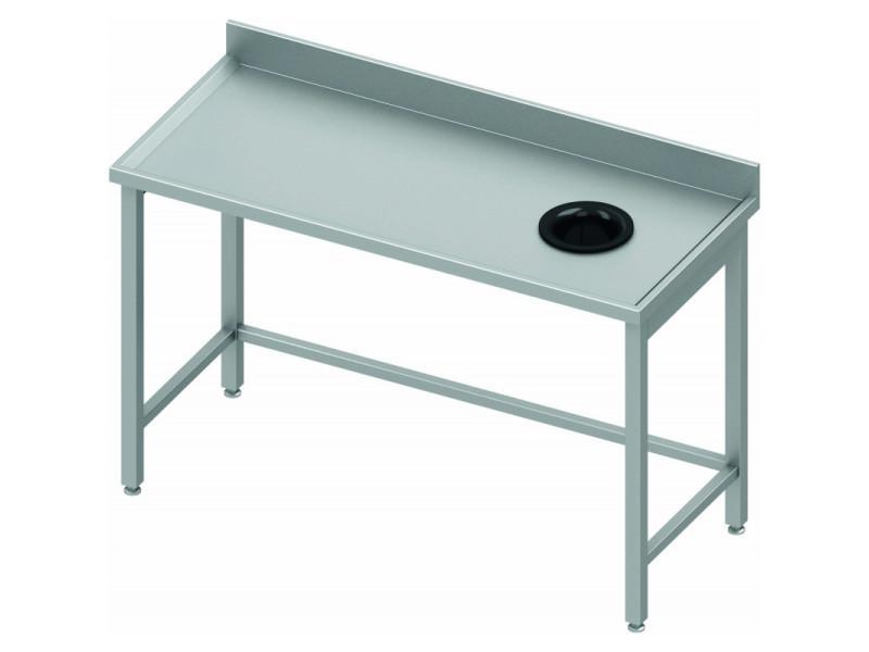 droite Table inox ordure à vide profondeur adossée 800 j435ARL