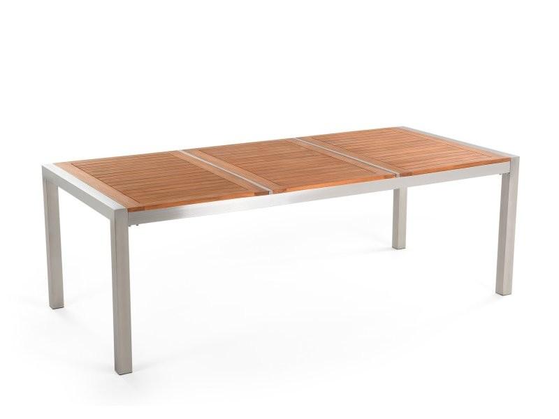 Table de jardin en bois acajou 220 x 100 cm grosseto 77753