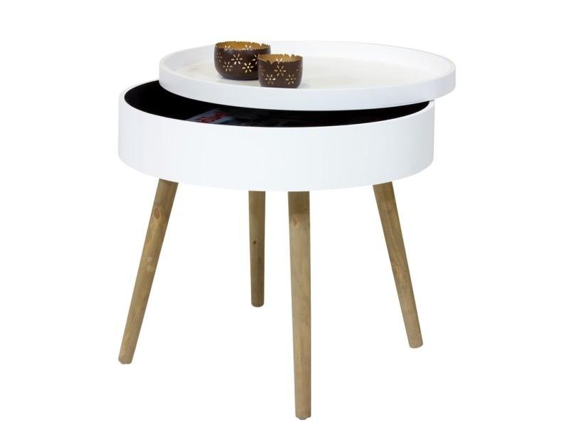 Bhp Table Basse Avec Pieds En Bois Blanc Mdf B154322d