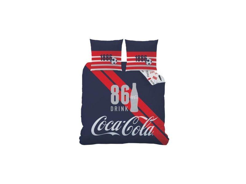 2a78bd4f55a Parure housse de couette polycoton + taies football 86 sport bleu rouge  coca cola