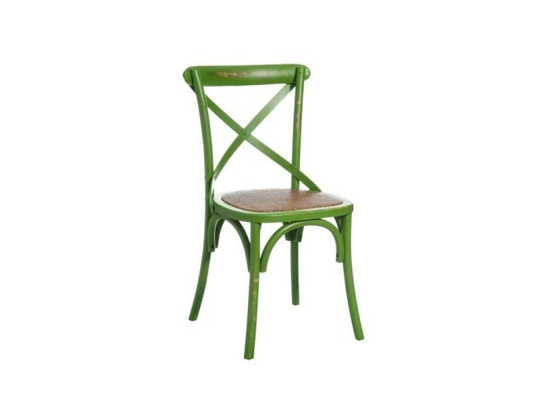 Lot de 2 chaises en bois vert valentine - l 46 x l 42 x h 87