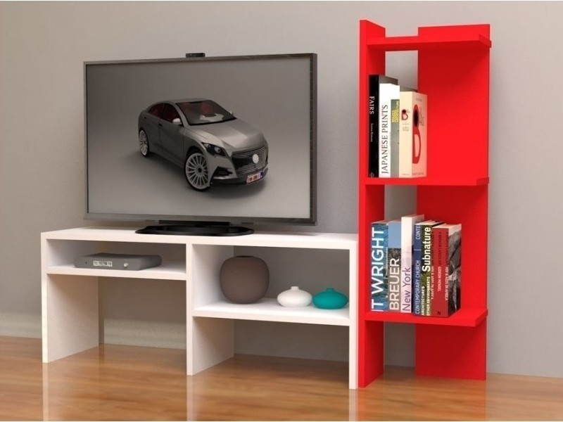 Meuble Tv Design Fonctionnel Avec Etagere Emir Rouge Blanc Vente