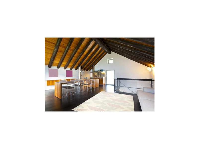 Madrid tapis style contemporain 160x230 cm blanc / rose ...