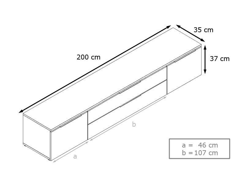 Meuble bas tv blanc / mûre 200 cm