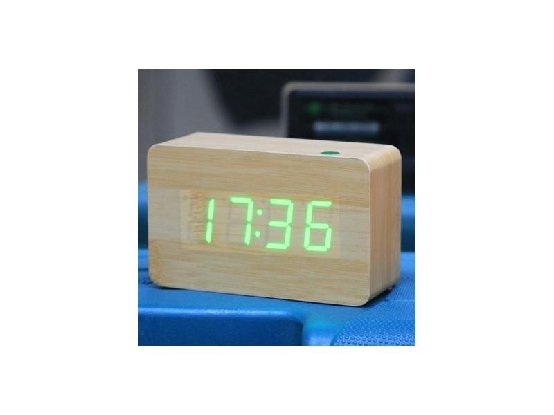 13adf1b80b Réveil digitale vert numéro usb / batterie horloge en bois avec commande  vocale alternativement afficher l'heure, le mois et la date la température