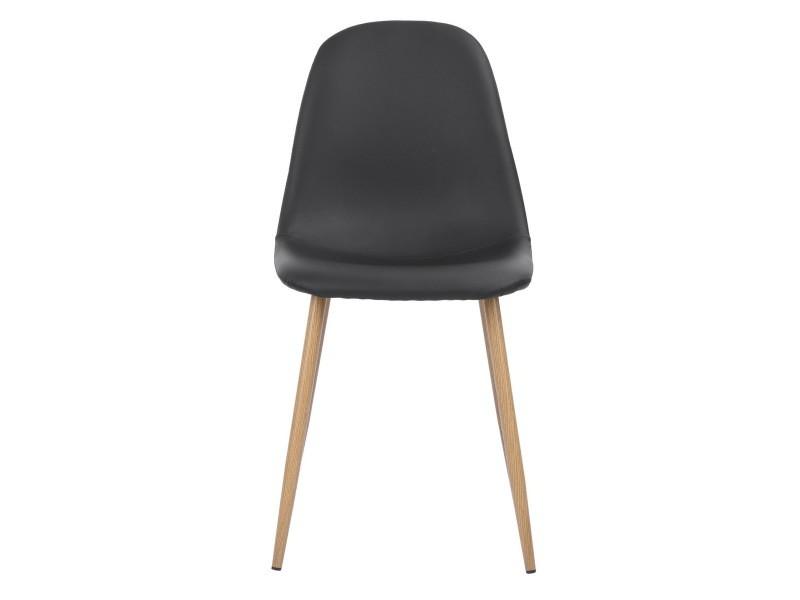 Lot de 2 chaises scandinave pu noir métal look bois Vente