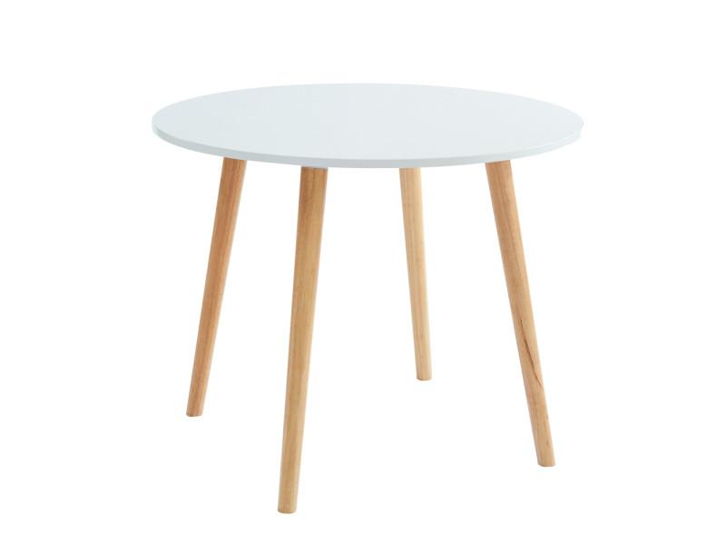 Table de séjour ronde style scandinave coloris blanc mat en mdf et hévéa massif - dim : 160 à 100 x 100 x 76 cm -pegane-