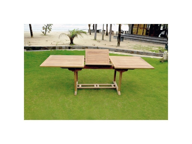 Table kajang 10 : table de jardin rectangle extensible en teck brut ...