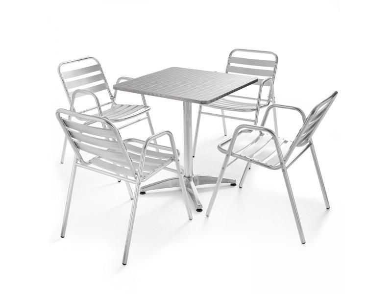 Table de jardin bistrot carrée et 4 fauteuils en aluminium 4 places aluminium gris
