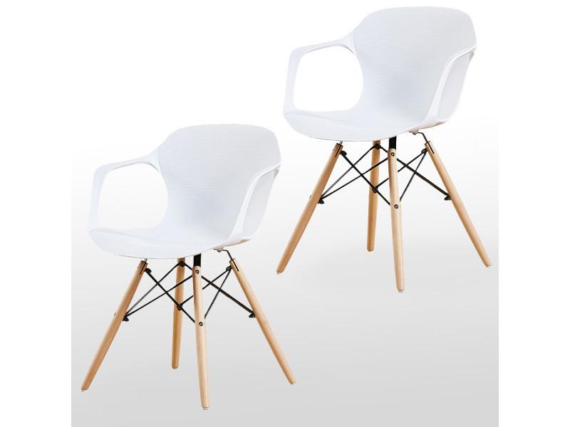Lot de 2 chaises blanches alecia - inspiration scandinave