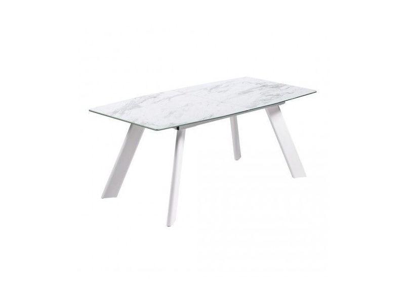 Table céramique à rallonge effet marbre blanc marble 180-225 cm