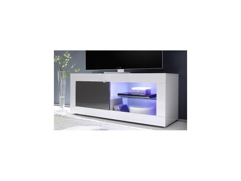 Meuble tv basic, 140 cm, blanc/anthracite