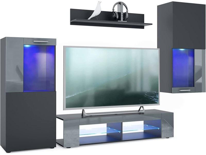 Meubles de salon en noir mat et gris avec leds bleus