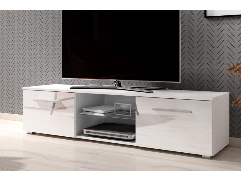 Meuble tv / banc tv - tenus - 140 cm - blanc mat / blanc brillant - sans led