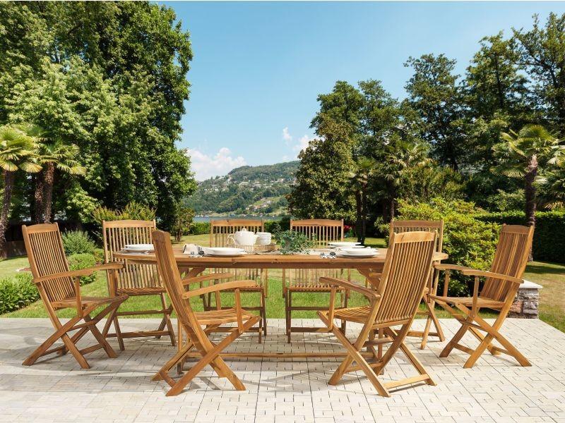 Table de jardin ovale extensible 160/220 x 100 cm en bois d ...