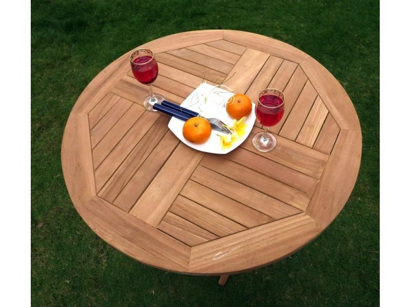 Table pliante de jardin 70 cm de diamètre teck brut - Vente ...