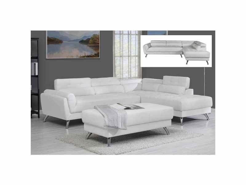 Canapé d'angle capitonné blanc alison - angle droit