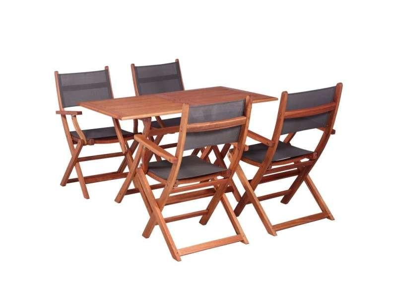 Vidaxl mobilier à dîner de jardin 5 pcs bois d\'eucalyptus et ...