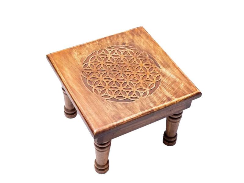 Mini table d'appoint en bois fleur de vie