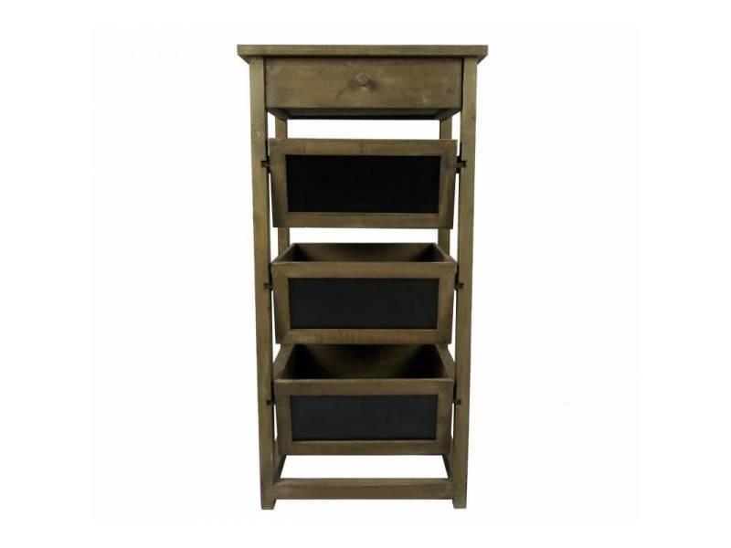 Semainier colonne à 1 tiroir 3 casier ardoise en bois ...