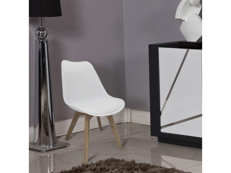Chaise bjorn chaise de salle a manger - simili blanc - scandinave - l 48,3 x p 61 cm