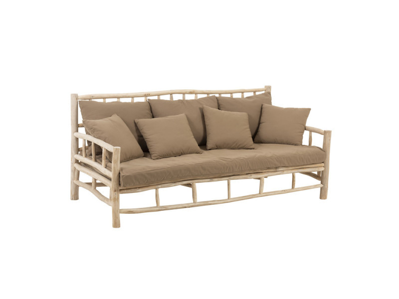 Canapé 3 places en teck et coussins marrons - drill - l 200 x l 100 ...