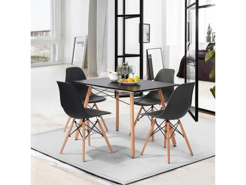 Ensemble Table Chaises 4 Places Scandinave Noir Plastique