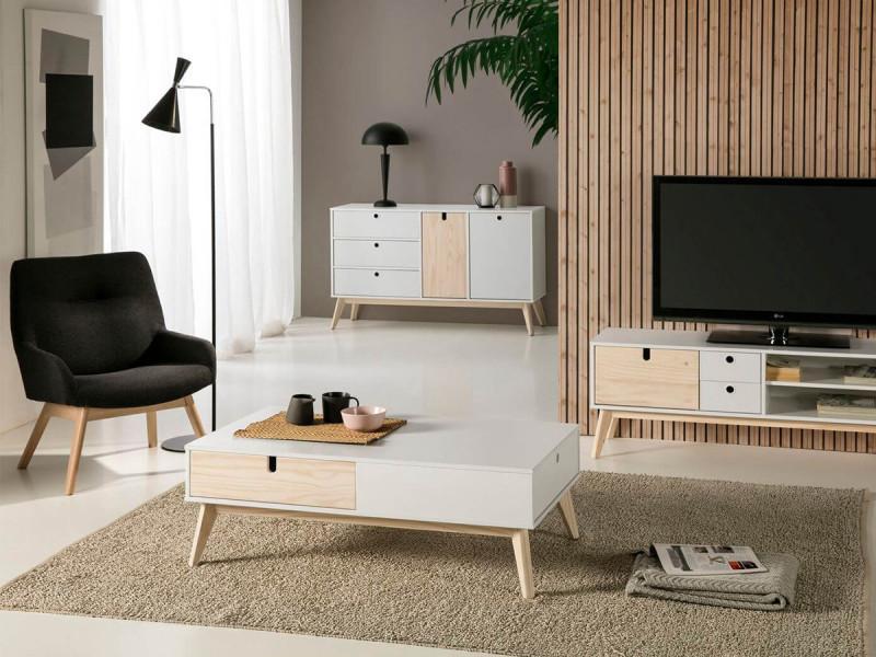 Bobochic table basse yugo blanc et bois clair