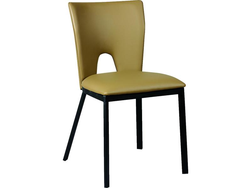 Lot de 2 chaises en acier et polypropylène, coloris taupe - dim : l.45 x p.50 x ht.81 x ht ass. 47 cm -pegane-