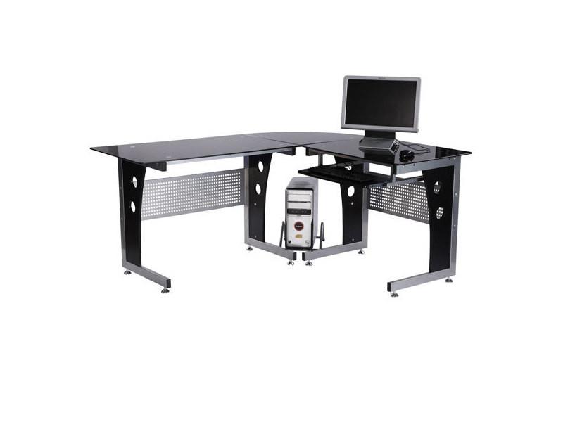 f7eb0415fda34 Bureau d informatique angle pour ordinateur meuble table de travail  plateaux verre fumé trempé