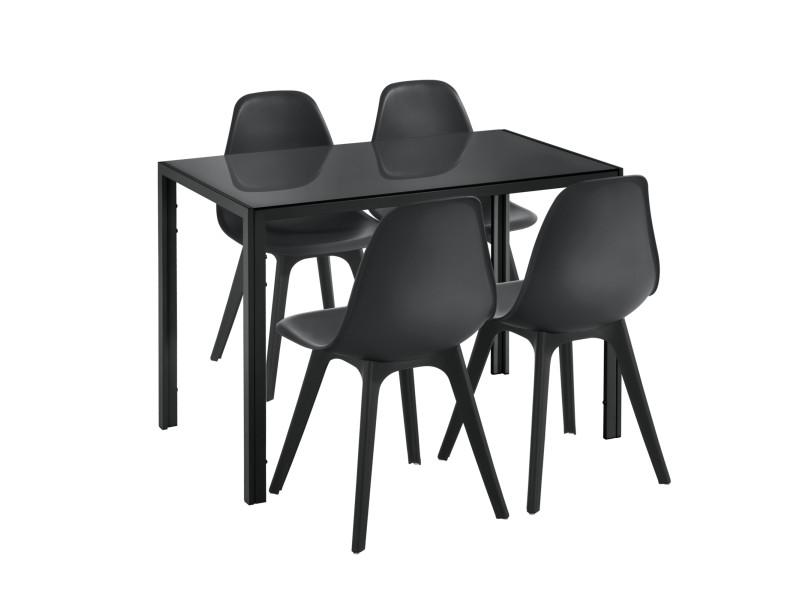 Merveilleux [en.casa] Ensemble Table Et 4 Chaises Table De Salle à Manger Avec 4  Chaises Métal Bois Plastique Verre Noir 105cm X 60cm X 75cm